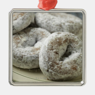 A plate of sugar donuts Silver-Colored square decoration
