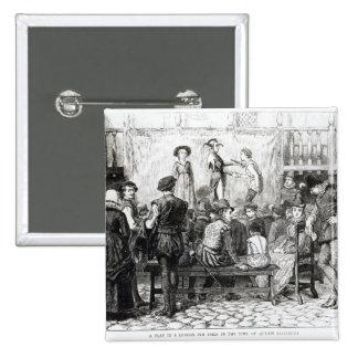 A Play in a London Inn Yard 15 Cm Square Badge
