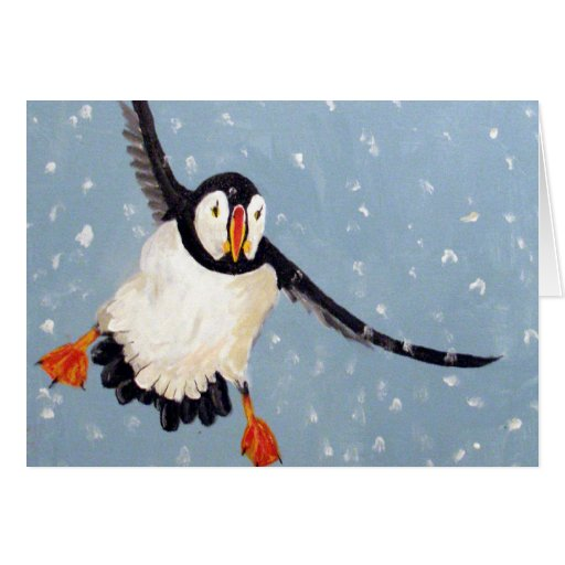 """A Playful Puffin"" Horizontal Card"