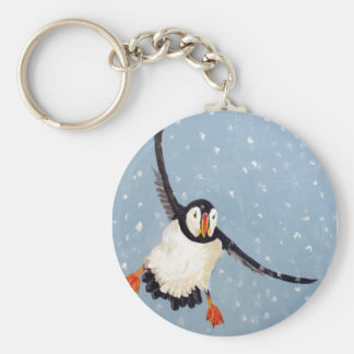 """A Playful Puffin"" Keychain"