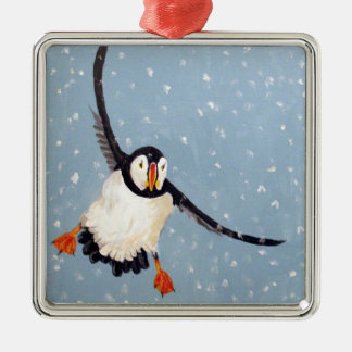 """A Playful Puffin"" Square Ornament"