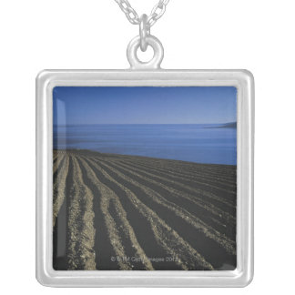 a ploughed field near the sea silver plated necklace