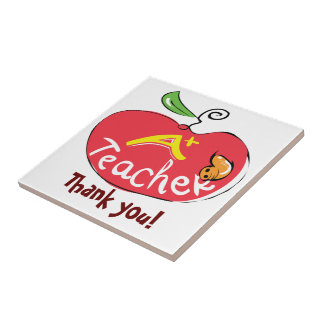 A plus teacher apple with thank you letters tile