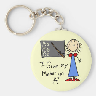 A Plus Teacher Tshirts and Gifts Basic Round Button Key Ring