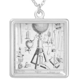 A Pneumatical Engine and it's parts Silver Plated Necklace