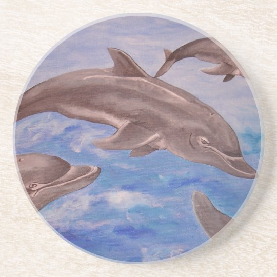 A Pod of Playful Jumping Dolphins Beverage Coaster
