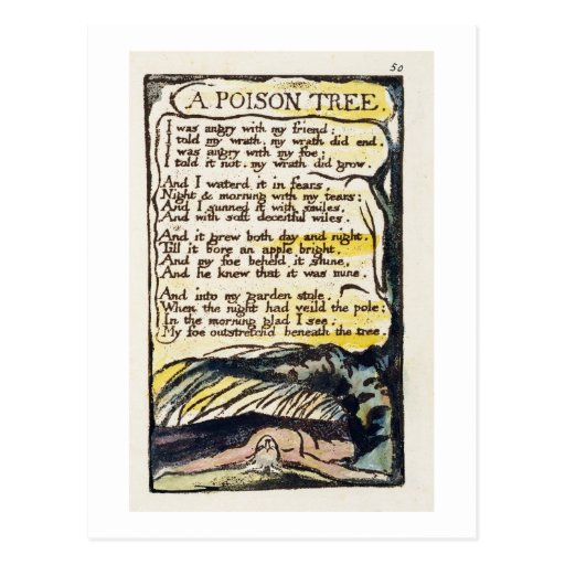 'A Poison Tree', plate 50 (Bentley 49) from 'Songs Post Card