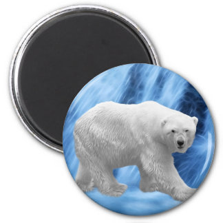 A polar Bear at the frozen waterfall 6 Cm Round Magnet