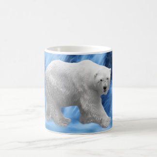 A polar Bear at the frozen waterfall Coffee Mug