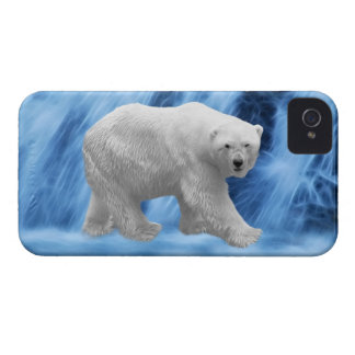 A polar Bear at the frozen waterfall iPhone 4 Cases