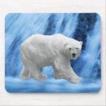 A polar Bear at the frozen waterfall Mousepad