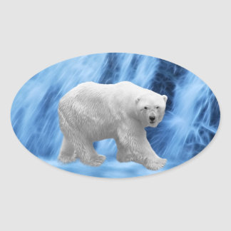 A polar Bear at the frozen waterfall Oval Sticker