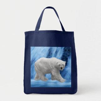 A polar Bear at the frozen waterfall Tote Bag