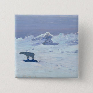 A Polar Bear Hunting in Moonlit Night, 1899 15 Cm Square Badge