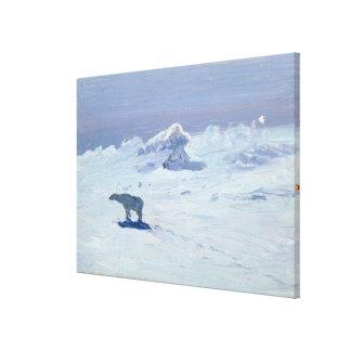 A Polar Bear Hunting in Moonlit Night, 1899 Canvas Print