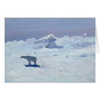 A Polar Bear Hunting in Moonlit Night, 1899 Greeting Card