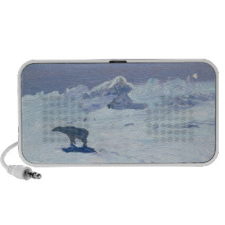 A Polar Bear Hunting in Moonlit Night, 1899 Laptop Speakers