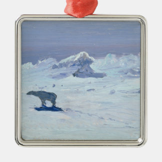 A Polar Bear Hunting in Moonlit Night, 1899 Silver-Colored Square Decoration