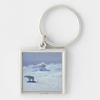 A Polar Bear Hunting in Moonlit Night, 1899 Silver-Colored Square Key Ring