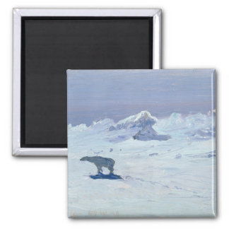 A Polar Bear Hunting in Moonlit Night, 1899 Square Magnet