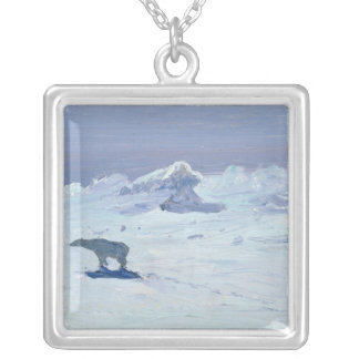 A Polar Bear Hunting in Moonlit Night, 1899 Square Pendant Necklace