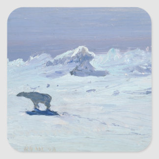 A Polar Bear Hunting in Moonlit Night, 1899 Square Sticker