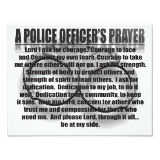 A POLICE OFFICER'S PRAYER 11 CM X 14 CM INVITATION CARD