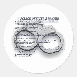 A POLICE OFFICER'S PRAYER ROUND STICKER