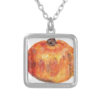 A popegranite silver plated necklace