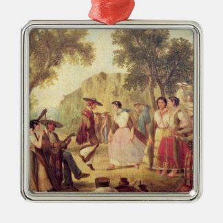 A Popular Dance Silver-Colored Square Decoration