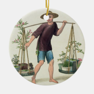 A Porter with Fruit Trees and Flowers, plate 16 fr Christmas Ornament