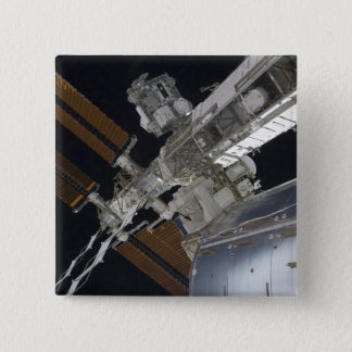 A portion of the International Space Station 3 15 Cm Square Badge