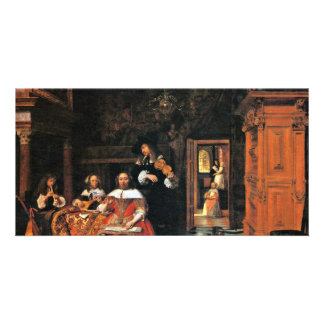 A Portrait Of A Musician Family By Hooch Pieter De Photo Greeting Card