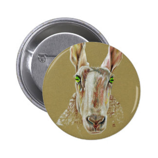 A portrait of a sheep 6 cm round badge