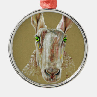 A portrait of a sheep christmas ornament