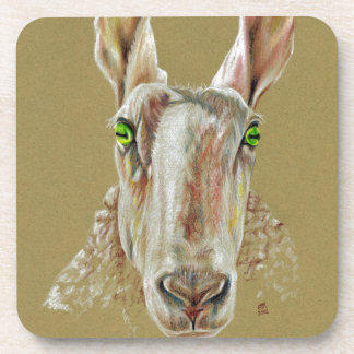 A portrait of a sheep coaster
