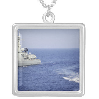 A Portuguese navy team in an inflatable boat Silver Plated Necklace