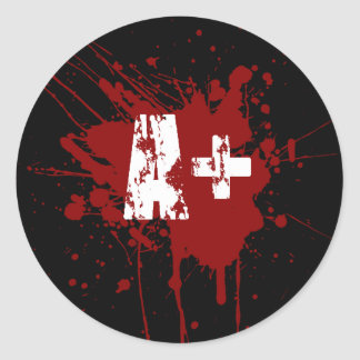 A positive Blood Type for Vampires & Zombies Round Sticker