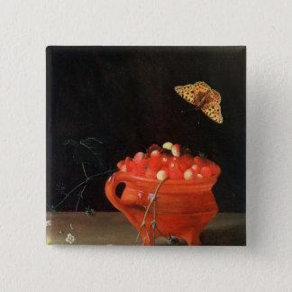 A Pot of Wild Strawberries 15 Cm Square Badge