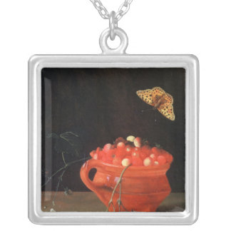 A Pot of Wild Strawberries Silver Plated Necklace