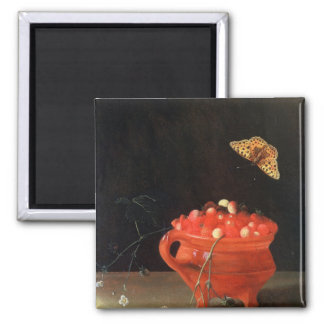 A Pot of Wild Strawberries Square Magnet