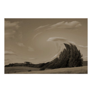 A Prairie Tidal Wave sepia tone Poster