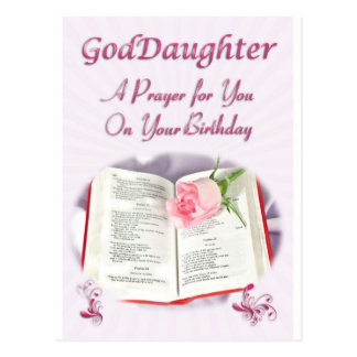 A prayer for a Goddaughter on her Birthday Postcard