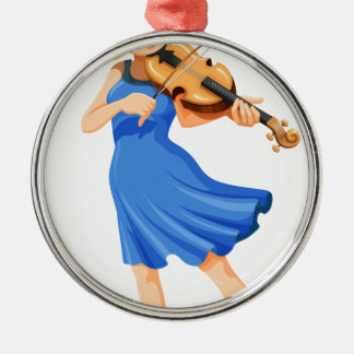 A pretty girl playing the violin christmas ornament