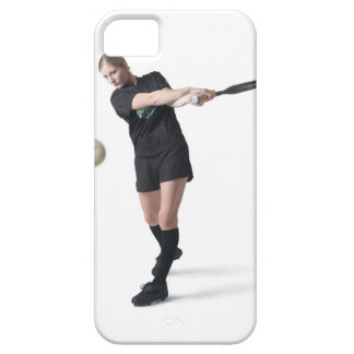 a pretty young caucasian woman is wearing a case for the iPhone 5