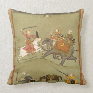 A Prince Fighting his Enemies on an Elephant c 17 Throw Pillow