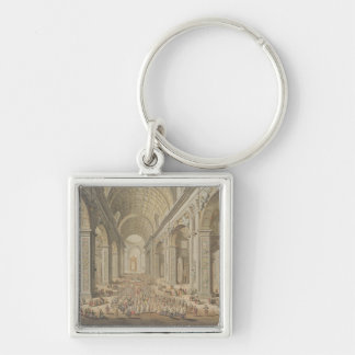 A Procession in St Peter's, Rome (w/c over an etch Silver-Colored Square Key Ring