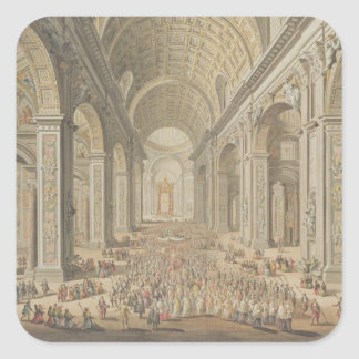 A Procession in St Peter's, Rome (w/c over an etch Square Sticker