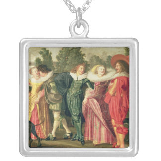 A Promenade in the Garden, c.1623 Silver Plated Necklace