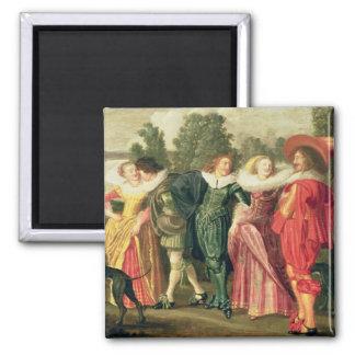 A Promenade in the Garden, c.1623 Square Magnet